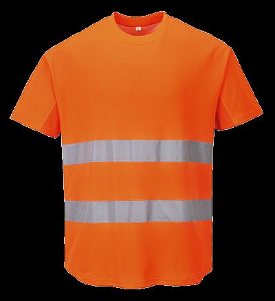 Ostrzegawczy T-shirt z panelami z siatki